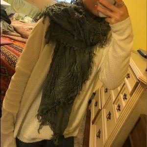 Grey fringe scarf